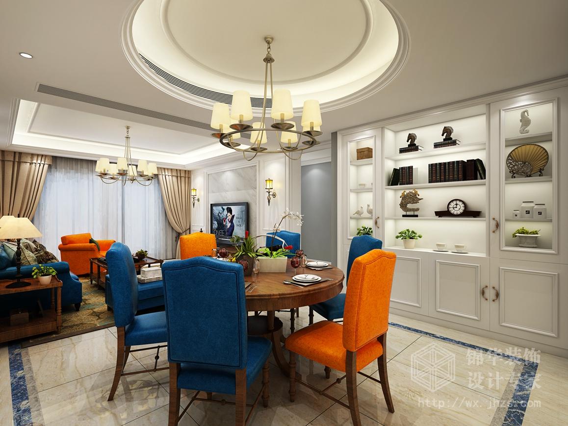 两厅两卫现代简美风格效果图装修-大户型-美式田园