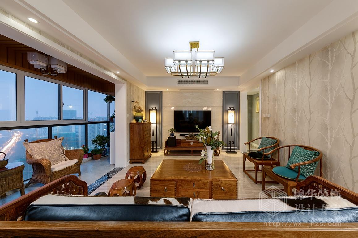新中式风格-擎天半岛-四室两厅-143平米-装修实景效果图