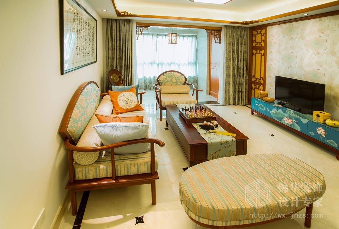 新中式风格-万达旅游城-三室两厅-109平-装修实景效果图