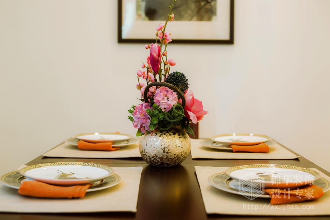 新中式风格-万达旅游城-三室两厅-109平-餐厅-装修实景效果图