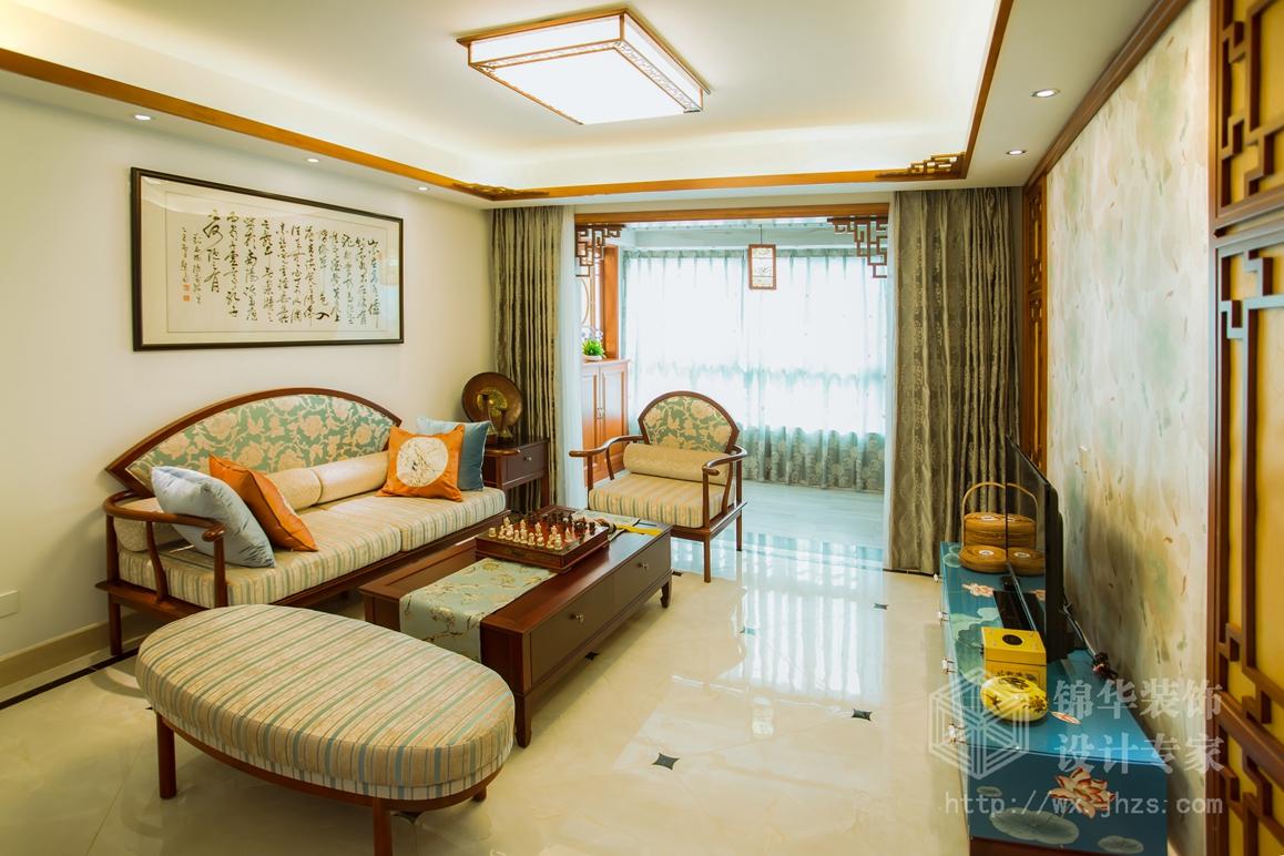 新中式风格-万达旅游城-三室两厅-109平-客厅-装修实景效果图