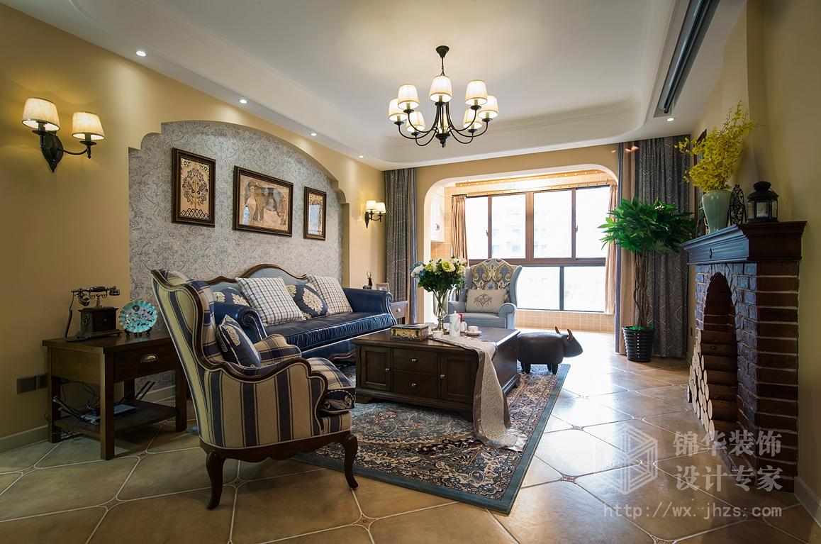 保利香槟140平三室两厅两卫小美式风格实景图图片
