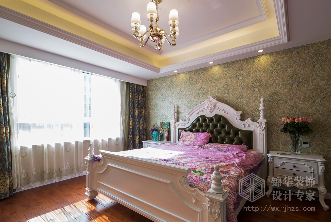 绿地波士顿公馆134平简约美式风格实景图装修-三室两厅-简美