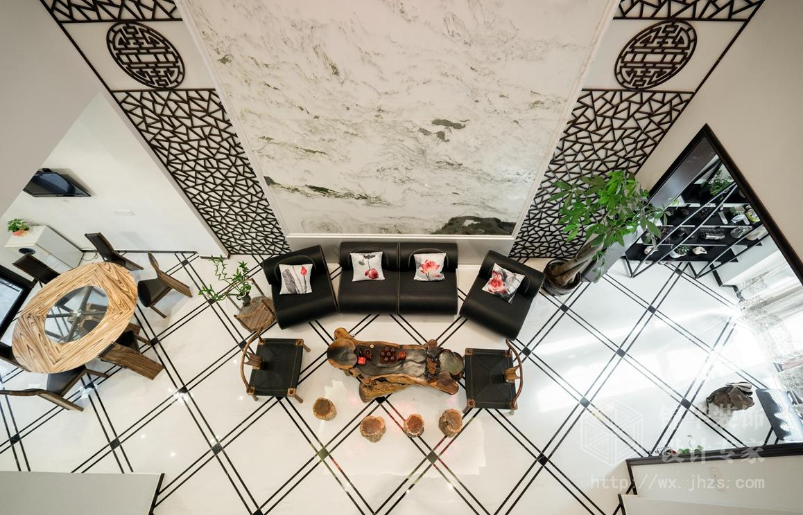中式风格-世贸香滨湖-别墅-500平-装修实景效果图