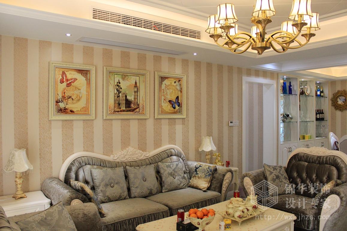 景湖天成123平三室两厅一卫简欧风格实景图