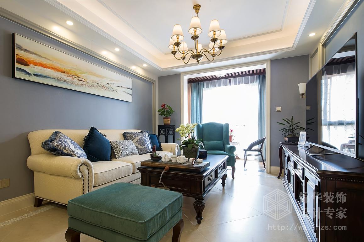 简约美式风格-时代上城-两室两厅-106平米-装修实景样板间