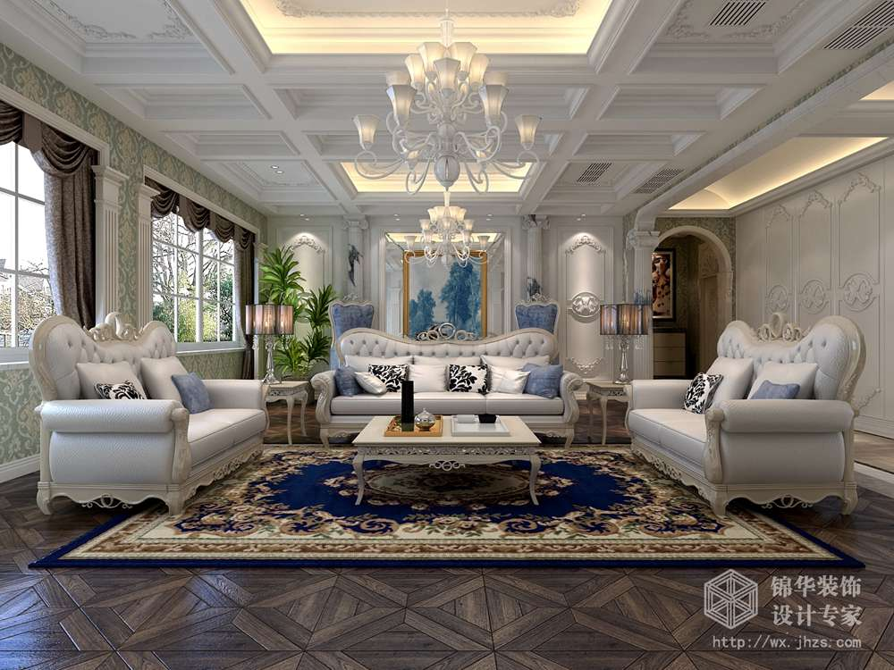川港别墅420平法式风格效果图装修-别墅-欧式古典