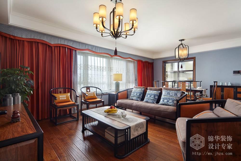 新中式-擎天半岛-三室两厅-装修效果实景图