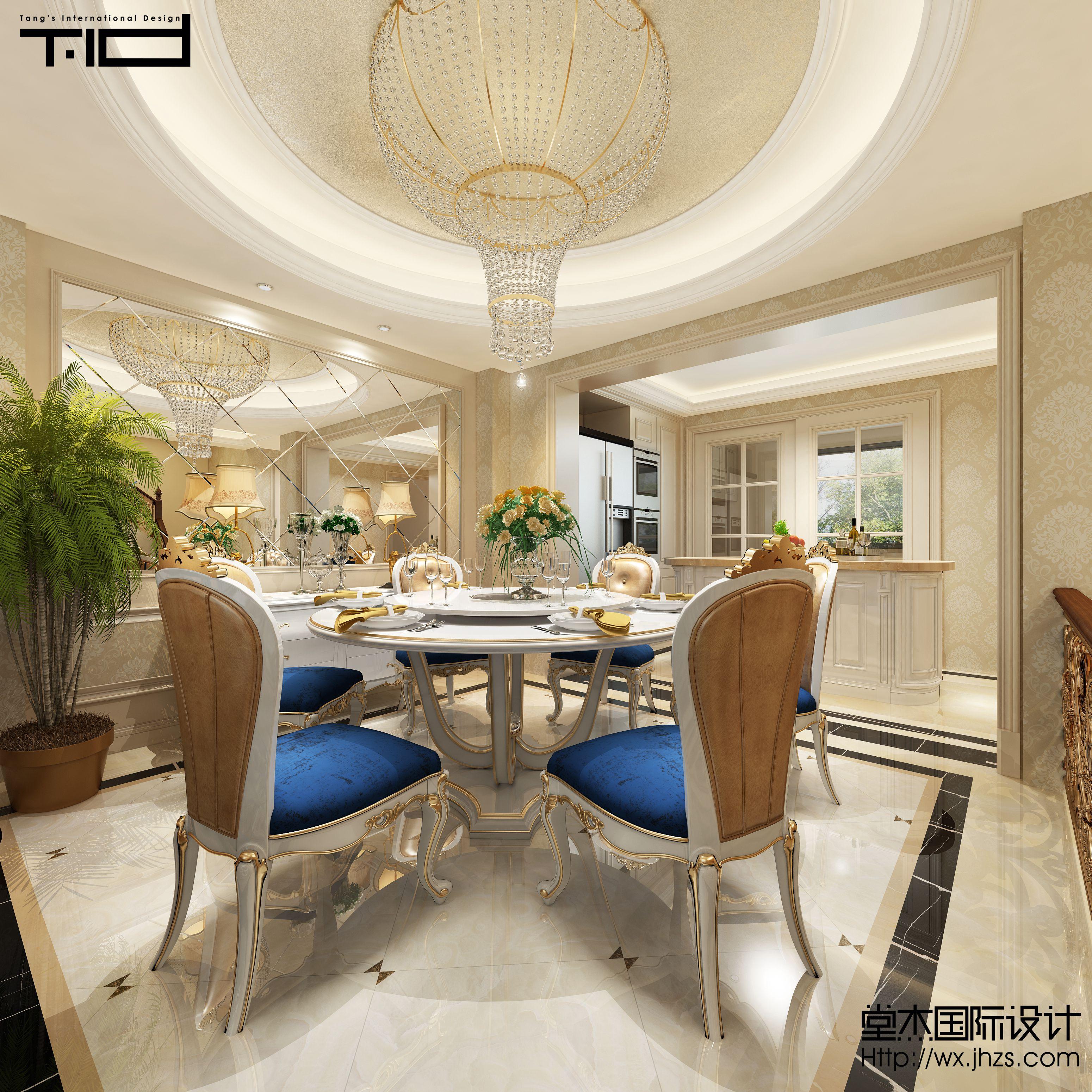设计说明: 本案设计为新古典和简欧风格的结合,欧式的居室有的不只是豪华大气,更多的是意境和浪漫。通过完美的曲线,精益求精的细节处理,带给家人不尽的舒适触感。新古典风格是经过改良的古典风格。家具的样式雅致、精炼;做工讲究,装饰文雅,显得更加的优美浪漫。两种风格的相结合,给人一种眼前一亮的感觉。 选材方面,除了欧式惯用的米色材质外,还用了大理石、瓷砖等材料,大大提升了原质感的对比效果,在表现尊贵的同时还增添了几分质感。 餐厅吊顶采用圆形吊顶内贴金箔,即贴近天圆地方的设计理念又有着欧式风格的柔和细腻。 客厅顶面