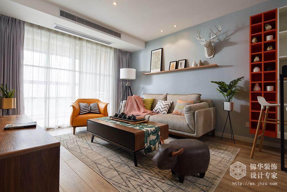 北欧风格-华润橡树湾-三室两厅-113平米-装修实景效果图