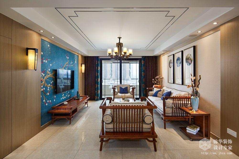 复地达令港138平新中式风格实景图装修-三室两厅-新中式