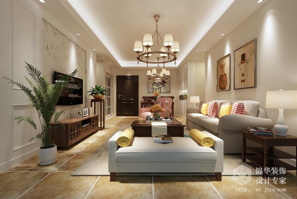 美式风格-红豆万花城-三室两厅-128平-装修效果图
