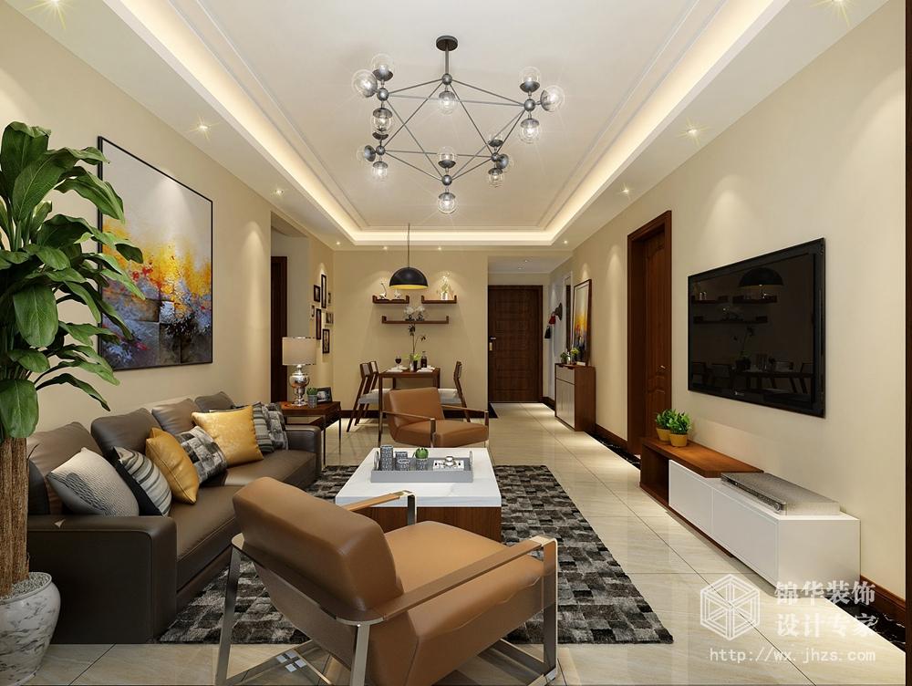现代简约风格-蓝光五彩城-三室两厅-98平-装修效果图