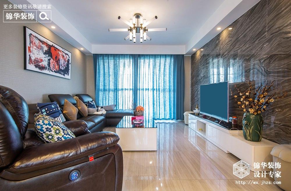 现代简约风格-维纳阳光-三室两厅-128平米-装修实景效果图
