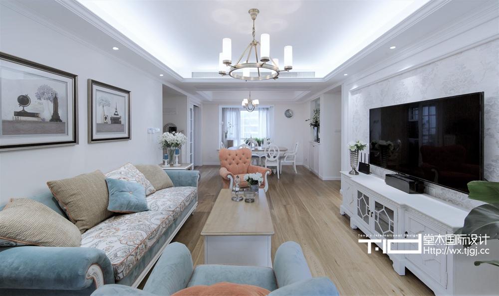 简美风格-繁华里-三室两厅-130平-装修效果实景图