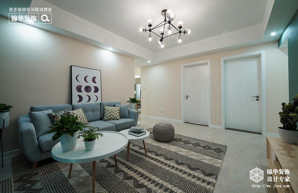 北欧风格-古运五爱苑-三室两厅-124平-客厅-装修实景效果图