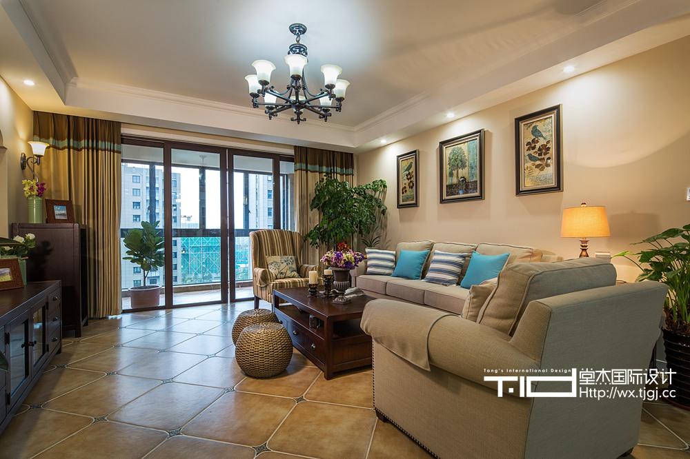 简美风格-保利香槟国际-三室两厅-198平-装修效果实景图