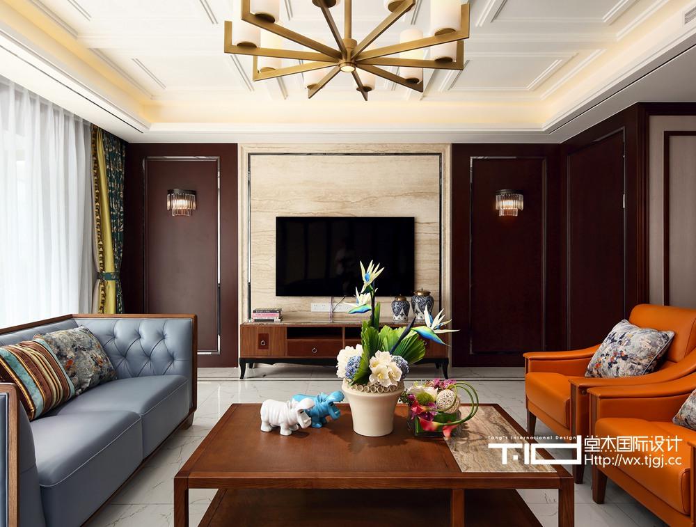 现代中式风格-栖霞栖园-两室两厅-217平-装修效果实景图