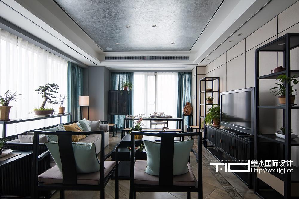 新中式风格-香樟园-三室两厅-268平-装修效果实景图