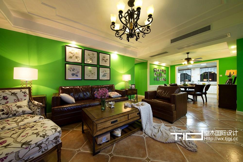 尚东雅园美式风格实景图装修-三室一厅-简美图片