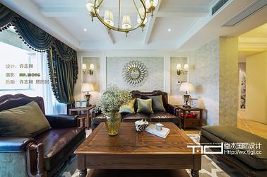 古典美式风格-玉兰花园-三室两厅-155平米-装修实景效果图