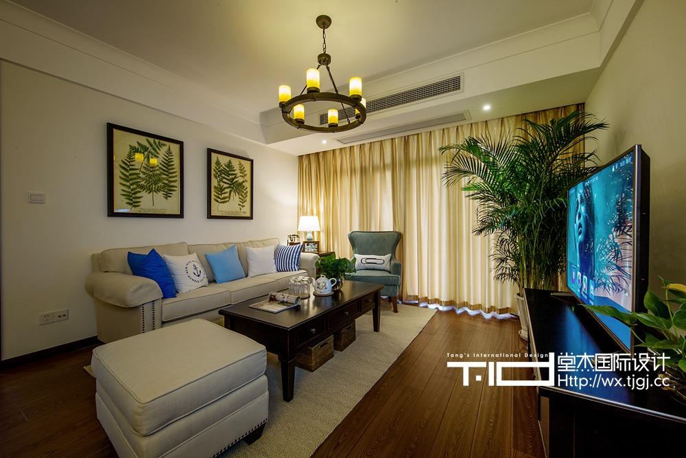 现代美式风格-长江国际-三室两厅-140平米-装修实景效果图