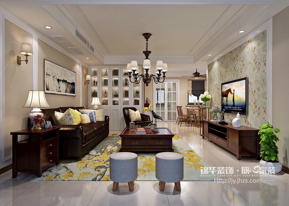 长江御园130平现代美式风格效果图装修-三室两厅-现代简约图片