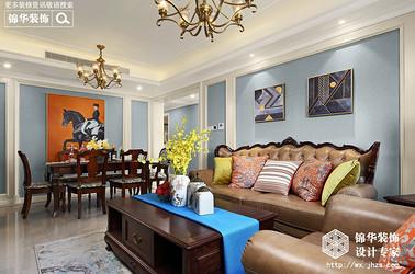美式风格-栖霞栖庭-三室两厅-98平-装修效果实景图