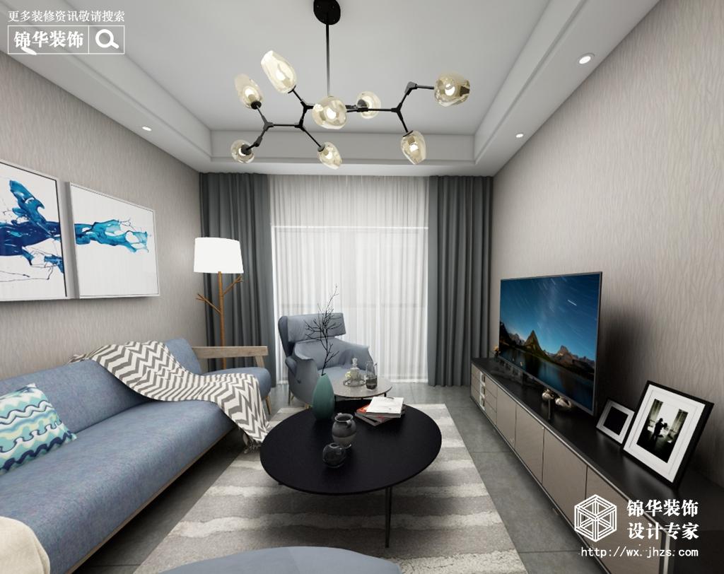 北欧风格-中海凤凰溪岸二期-两室两厅-94平-酷家乐全景图