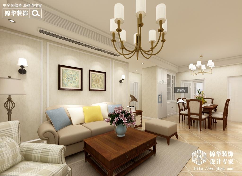 美式风格-中海凤凰熙岸-三室两厅-125平米-酷家乐全景图