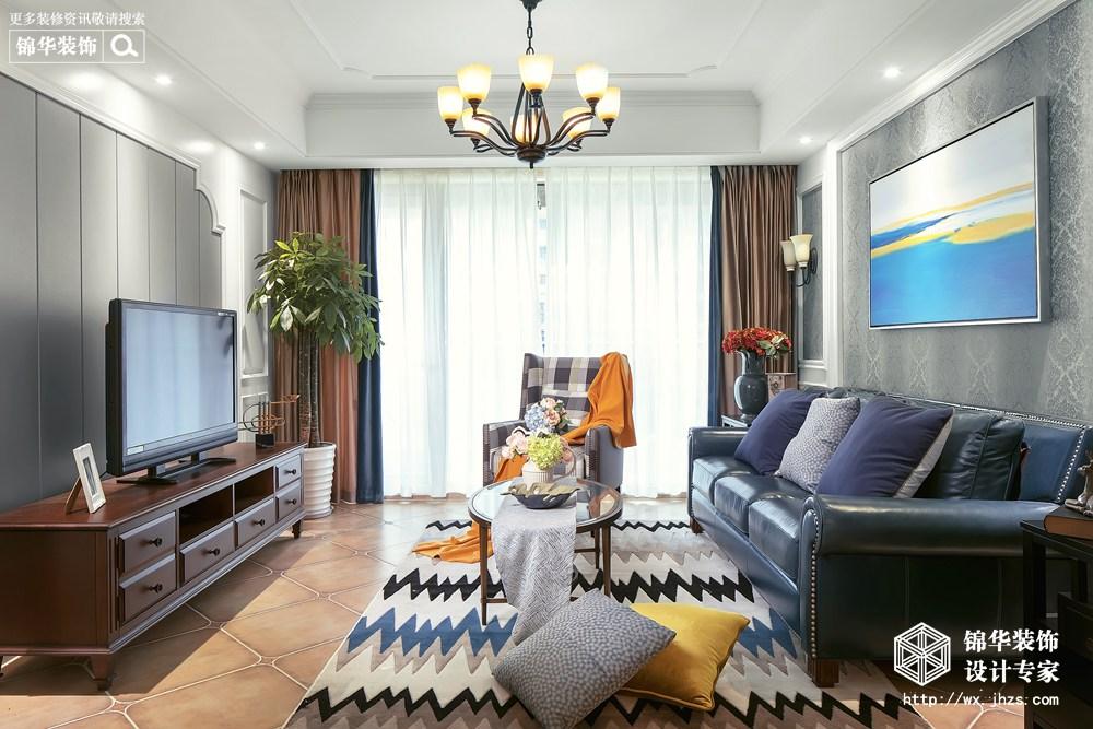 美式风格-玉兰花园-三室两厅-155平-装修效果实景图