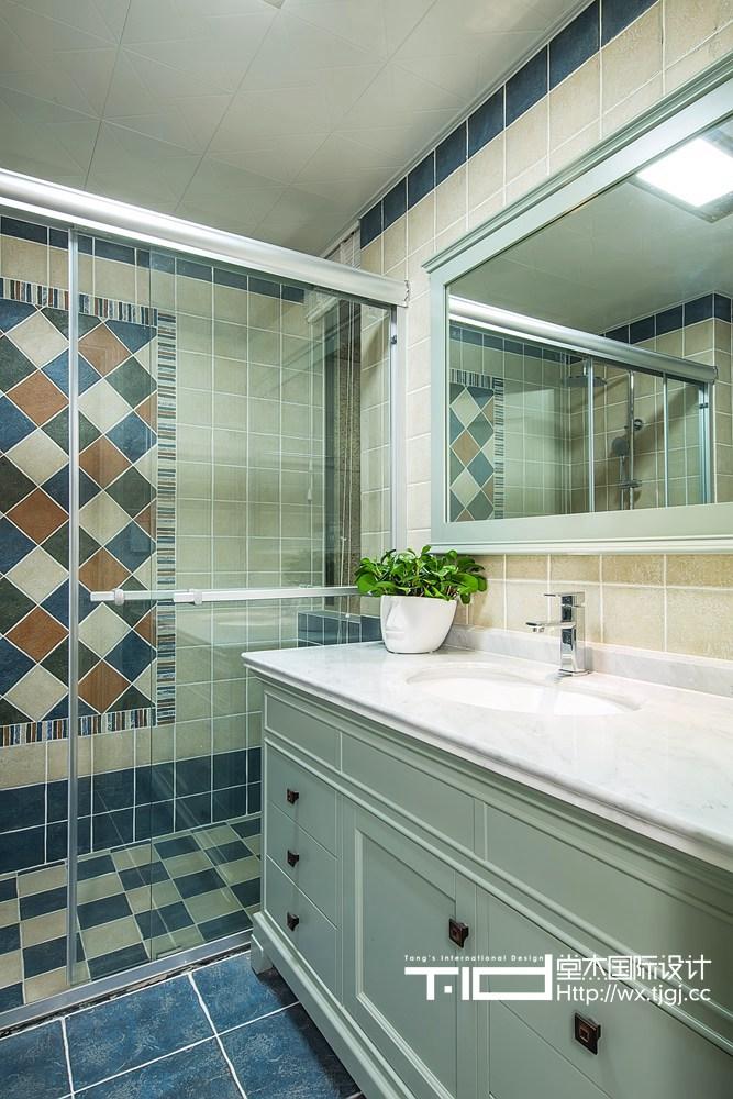 古典美式风格-玉兰花园-三室两厅-155平米-卫生间-装修实景效果图