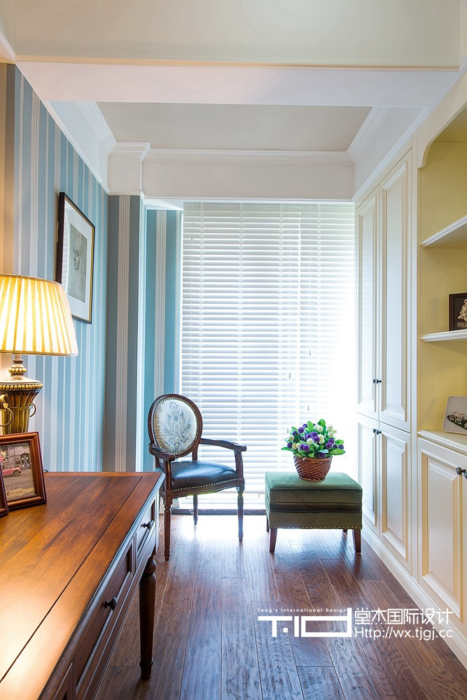 古典美式风格-玉兰花园-三室两厅-155平米-书房-装修实景效果图