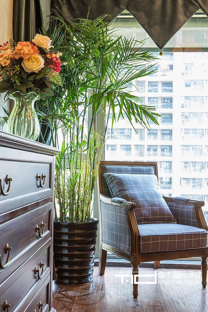 古典美式风格-玉兰花园-三室两厅-155平米-客厅-装修实景效果图