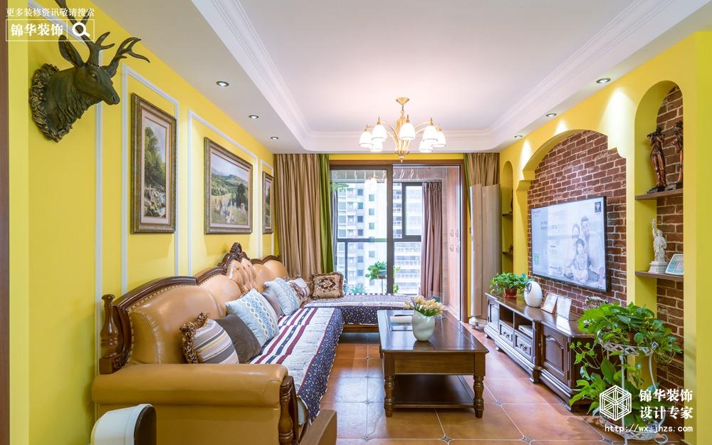 美式风格-溪岸锦园-三室两厅-98平-装修实景效果图