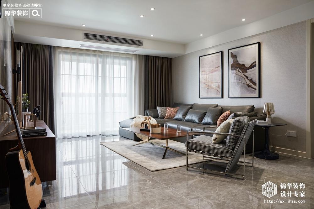 现代风格-东城中央府-三室两厅-160平-客厅-装修实景效果图