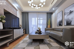 现代简约-孔雀城-三室两厅-117平-装修效果实景图