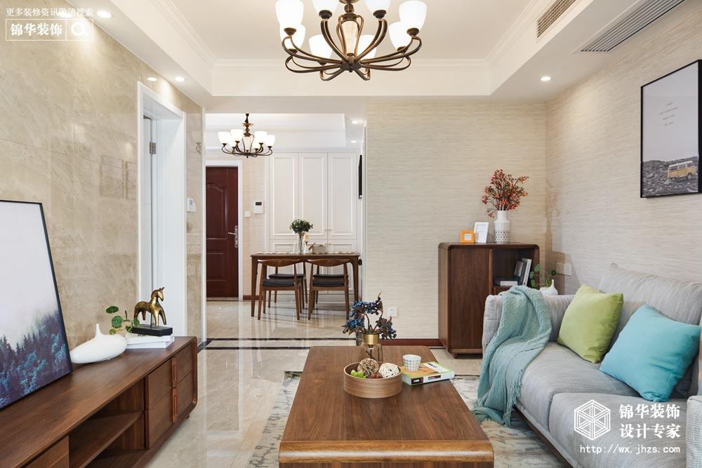 现代简约风格-奥澜半岛-两室两厅-88平米-装修实景效果图