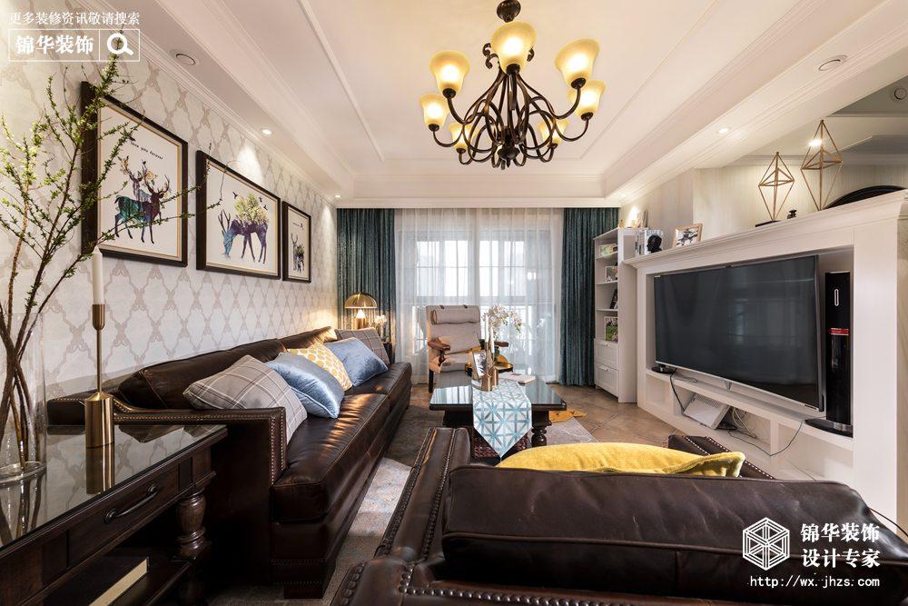 简美风格-金科世界城-三室两厅-124平-装修效果实景图