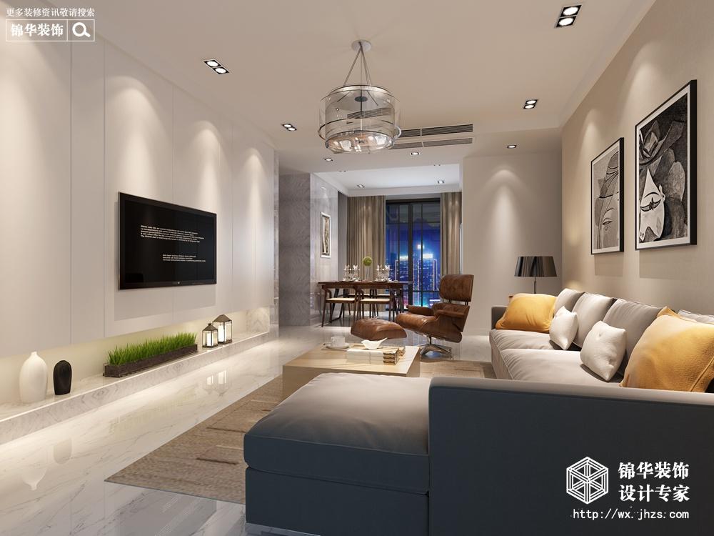 现代简约-万达广场-三室两厅-115平-客厅-装修效果图