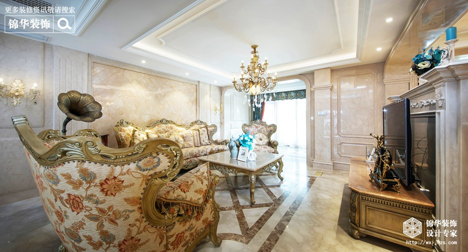 法式古典风格-中堂院墅-别墅-360平-装修实景效果图