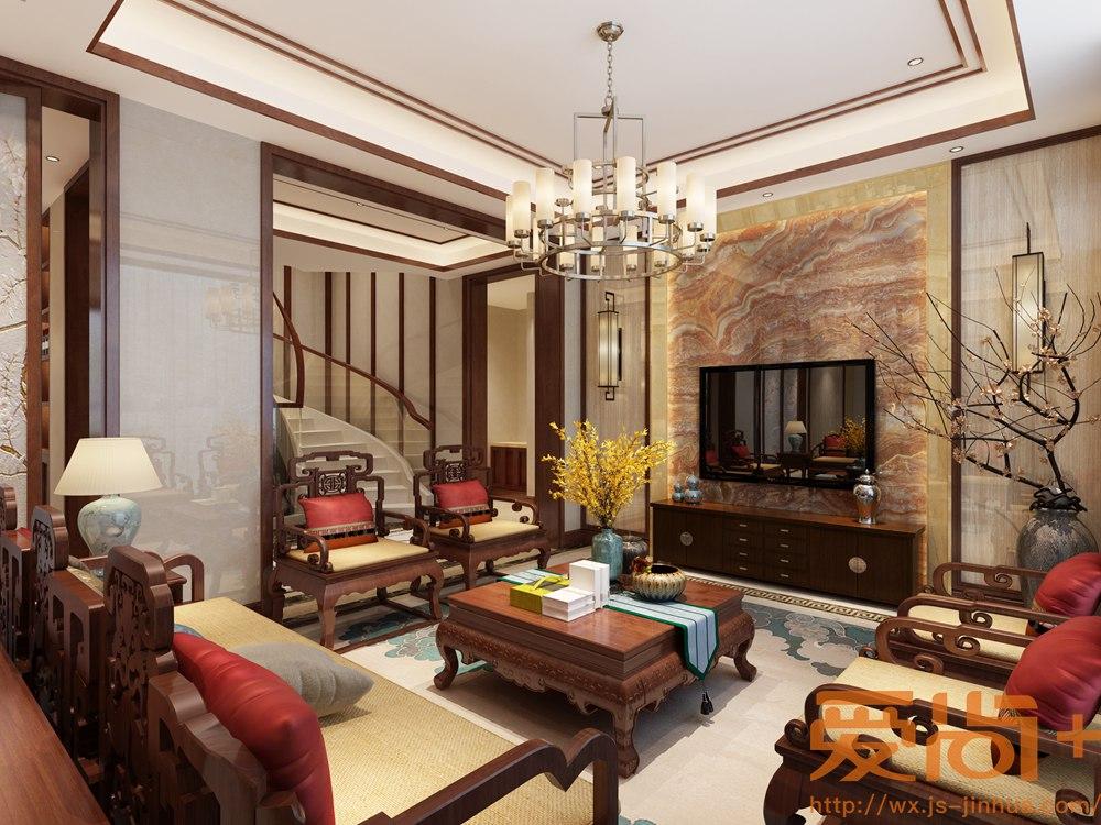 中式风格-绿地香颂-别墅-300平-装修效果图