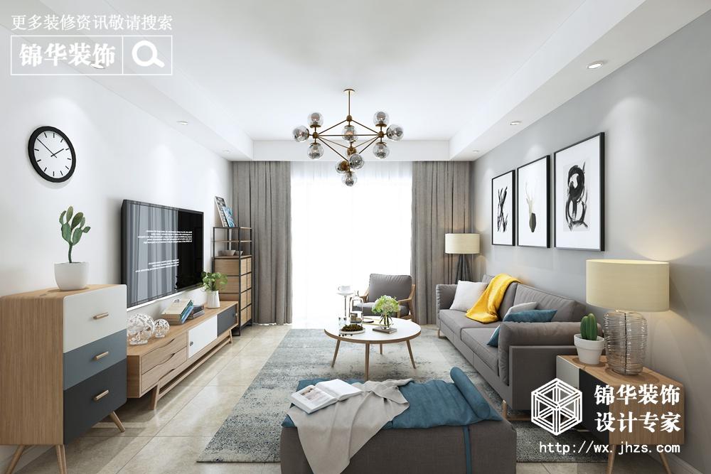 碧桂园115平北欧风格效果图装修-三室两厅-北欧