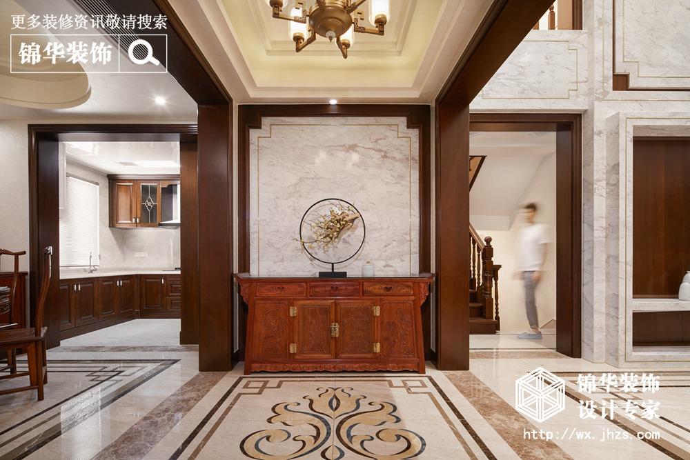 新中式风格-天池湾-跃层复式-200平米-客厅-装修效果实景图
