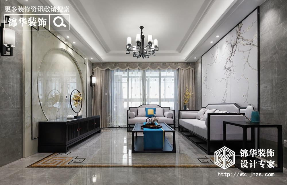 新中式风格-西亭家园-三室两厅-143平米-客厅-装修效果实景图