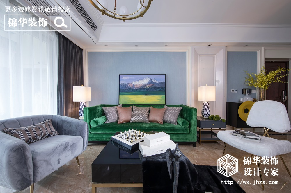 现代美式轻奢风格-保利中央公园-三室两厅-125平-装修实景效果图