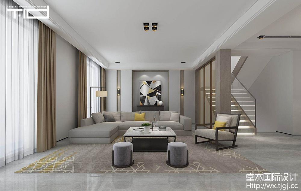 蠡湖香樟园310平现代简约风格效果图装修-跃层复式-现代简约