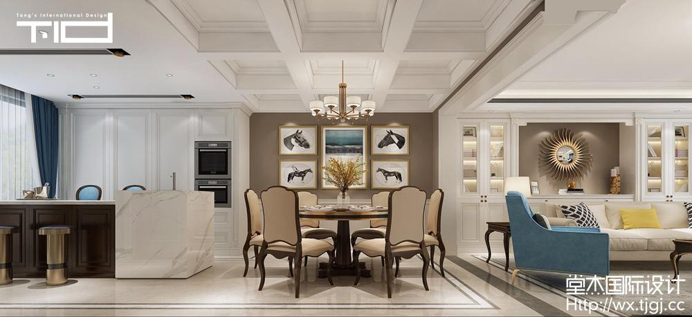 中建城中墅388平现代美式风格效果图装修-别墅-简美图片