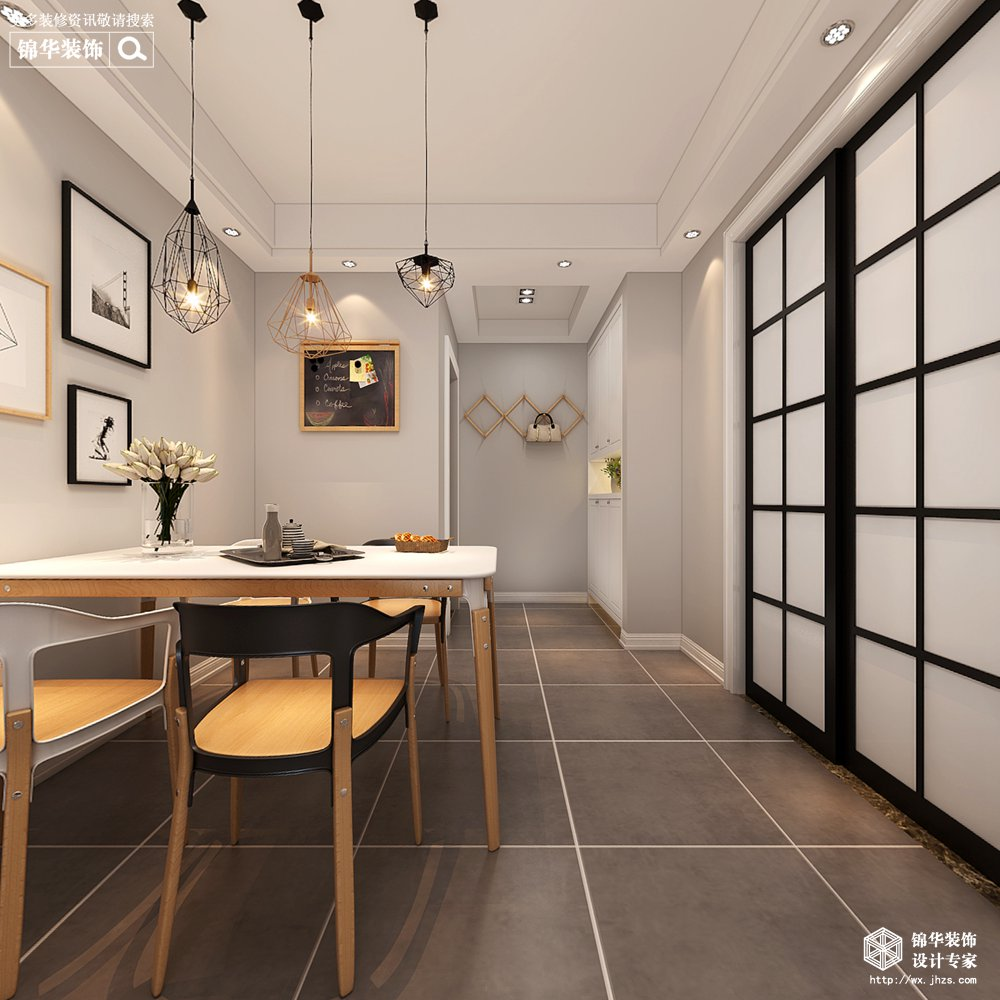 中梁115平北欧风格效果图装修-三室两厅-北欧