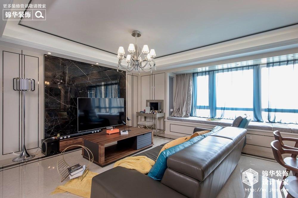 现代轻奢-擎天半岛-三室两厅-137平-装修效果实景图